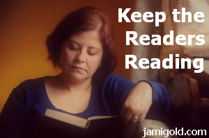 Woman reading a book with text: Keep the Readers Reading