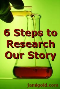 Scientist mixing chemicals with text: 6 Steps to Research Our Story
