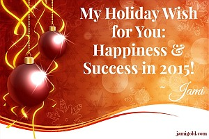 Christmas ornaments with text: My Holiday Wish for You: Happiness & Success in 2015