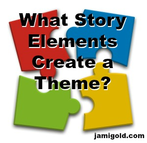 Scattered puzzled pieces with text: What Story Elements Create a Theme?