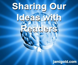 Illustration of a brain with text: Sharing Our Ideas with Readers