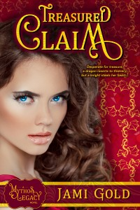 Treasured Claim Book Cover: Beautiful dark-haired white woman with striking bright blue eyes and near-luminescent skin stares at viewer against red background of dragon outline and ruby gemstone graphics