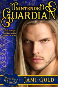 Unintended Guardian Book Cover: Sexy long-blond-haired white guy with striking amber eyes and beard scruff stares at viewer against royal blue background of gryphon outline and sun with light rays graphics