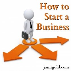 Graphic of a figure holding a briefcase in front of arrows with text: How to Start a Business