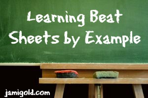Chalkboard with text: Learning Beat Sheets by Example