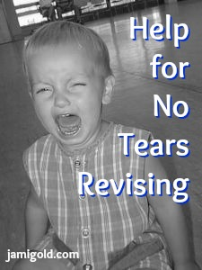 Baby crying with text: Help for No Tears Revising