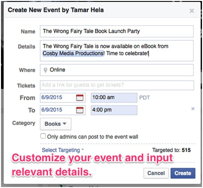 Screenshot example of Create Event dialog box