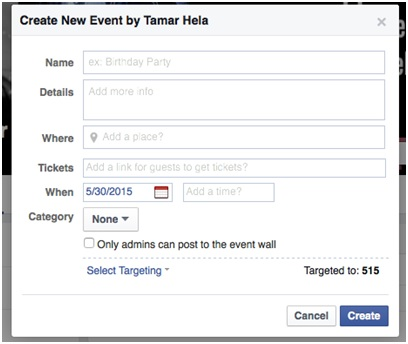 Screenshot of Create Event dialog box