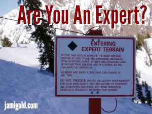 Black diamond ski warning for Expert Terrain with text: Are You An Expert?