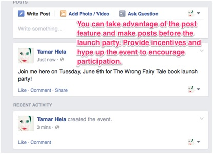 Screenshot of FB Event posts