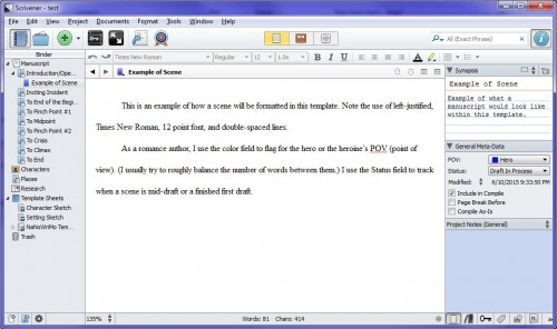 Romance Scrivener template scene screenshot