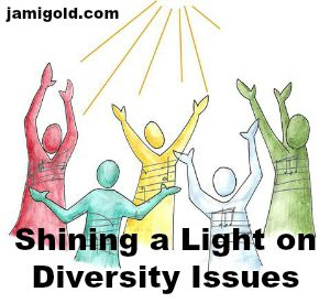 Cartoon of people looking up at light with text: Shining a Light on Diversity Issues