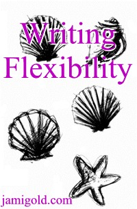 Sketches of sea shells with text: Writing Flexibility