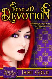 Ironclad Devotion cover: Beautiful vivid-red-haired white woman with striking bright violet eyes, dark red lips, and black swirling lines at her temple stares at viewer against purple background of faerie with wing-like flames and mandala graphics
