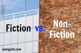 Modern building beside old brick building with text: Fiction vs. Non-Fiction