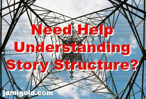 View up the center of high-tension electrical tower with text: Need Help Understanding Story Structure?
