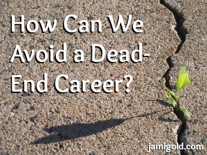 Plant growing in cement with text: How Can We Avoid a Dead-End Career?