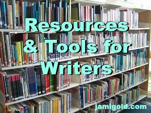 Library bookshelves with text: Resources & Tools for Writers