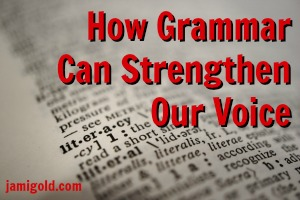 "Dictionary open to ""literacy"" with text: How Grammar Can Strengthen Our Voice"""