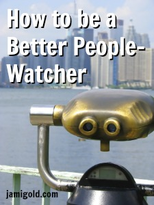 Observation Scope overlooking Toronto skyline with text: How to be a Better People Watcher