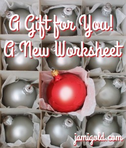 Christmas ornaments with text: A Gift for You! A New Worksheet