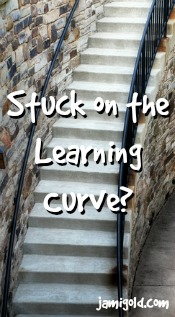 Curved stairs heading up with text: Stuck on the Learning Curve?