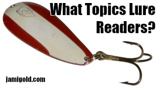 Fishing lure with text: What Topics Lure Readers?