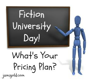 Stick figure at a chalkboard with text: What's Your Pricing Plan?
