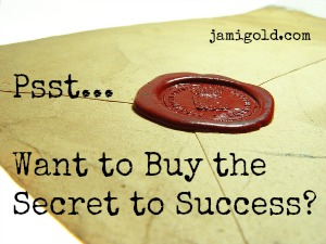 Wax seal on an envelope with text: Psst... Want to Buy the Secret to Success?