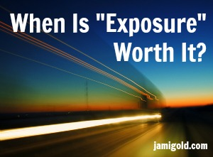 "Long-exposure photo of light tracks with text: When Is ""Exposure"" Worth It?"