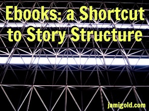 Roof structure with text: Ebooks: a Shortcut to Story Structure