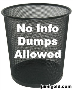 Garbage can with text: No Info Dumps Allowed