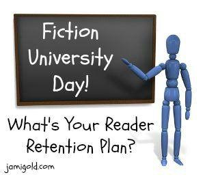 Stick figure at a chalkboard with text: What's Your Reader Retention Plan?