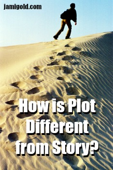 Man walking through a desert with text: How is Plot Different from Story?
