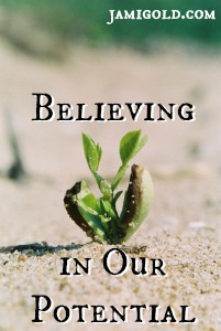 Plant seedling in the sand with text: Believing in Our Potential