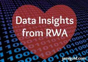 Strings of 0s and 1s with a heart overlay and text: Data Insights from RWA