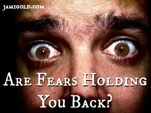 Close-up of fear-filled eyes with text: Are Fears Holding You Back?