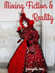 Carnival costume with text: Mixing Fiction & Reality
