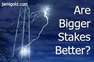 High tension electrical wire with large spark: Are Bigger Stakes Better?