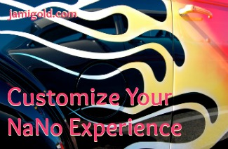 Close up of custom flames paint job on a car with text: Customize Your NaNo Experience