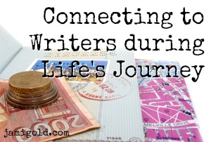 Passport, map, and currency with text: Connecting to Writers during Life's Journey