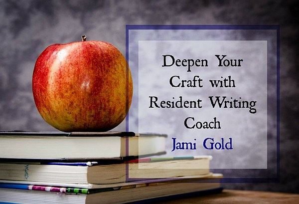 Apple on books with text: Deepen Your Craft with Resident Writing Coach Jami Gold (at Writers Helping Writers)