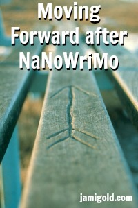 Arrow carved into picnic table with text: Moving Forward after NaNoWriMo