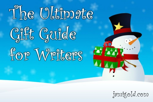 Snowman holding a gift with text: The Ultimate Gift Guide for Writers