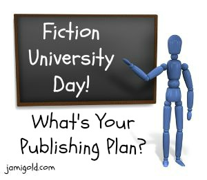 Stick figure at a chalkboard with text: What's Your Publishing Plan?