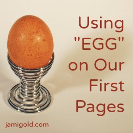 "Egg in a cup with text: Using ""EGG"" on Our First Pages"