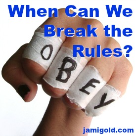 """Fist with """"OBEY"""" printed on knuckles with text: When Can We Break the Rules?"""