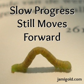 Inchworm creeping across a book with text: Slow Progress Still Moves Forward