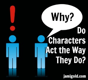 Figure with empty speech bubble and figure with exclamation point overhead with text: Why Do Characters Act the Way They Do?