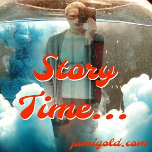 Weird reflection of woman and clouds with text: Story Time...